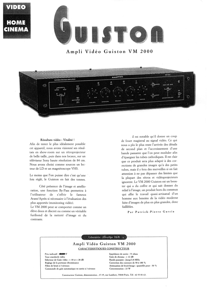 VM 2000 Amplificateur Regénérateur d'Images - Article paru dans le magazine HOME CINEMA page 1