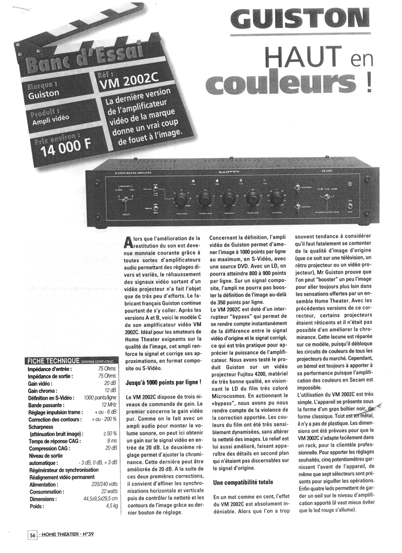 VM 2002 C Amplificateur Regénérateur d'Images - Article paru dans le magazine HOME THEATER N-39 page 1
