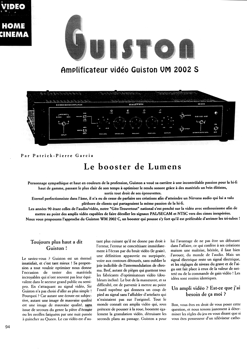 VM 2002 S Amplificateur Regénérateur d'Images - Article paru dans le magazine HOME CINEMA page 1