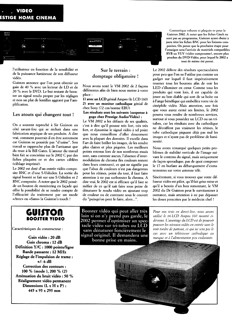 VM 2002 S Amplificateur Regénérateur d'Images - Article paru dans le magazine HOME CINEMA page 3